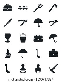 Set of vector isolated black icon - umbrella vector, stamp, baggage larry, farm fork, bucket, pruner, axe, scalpel, fragile, themes, case, ladle, hard work