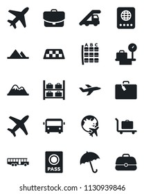 Set of vector isolated black icon - plane vector, taxi, suitcase, baggage trolley, airport bus, umbrella, passport, ladder car, seat map, luggage storage, scales, globe, mountains, case