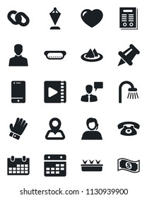 Set of vector isolated black icon - speaking man vector, pennant, calendar, glove, seedling, navigation, support, cell phone, chain, heart, paper pin, user, video, contract, bathroom, serviette