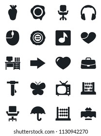 Set of vector isolated black icon - right arrow vector, case, abacus, mouse, desk, tie, stamp, butterfly, real heart, umbrella, headphones, music, office chair, tv, restaurant table