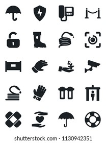 Set of vector isolated black icon - fence vector, security gate, glove, boot, hose, patch, heart hand, umbrella, protect, eye id, lock, intercome, water filter, surveillance, palm sproute