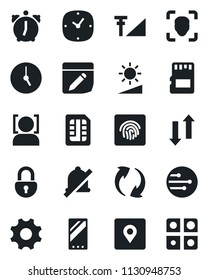 Set of vector isolated black icon - mobile vector, update, settings, clock, alarm, sd, sim, network, notes, data exchange, mute, brightness, place tag, lock, face id, fingerprint, cellular signal