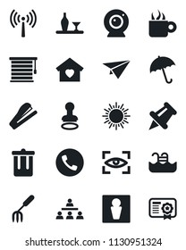 Set of vector isolated black icon - antenna vector, umbrella, phone, trash bin, male, stamp, sun, garden fork, paper pin, hierarchy, stapler, pool, sweet home, alcohol, coffee, web camera, jalousie