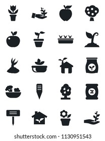 Set of vector isolated black icon - flower in pot vector, seedling, sproute, plant label, fertilizer, fruit tree, salad, apple, eco house, palm