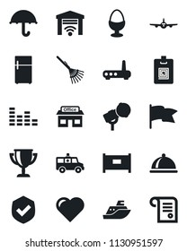 Set of vector isolated black icon - fence vector, plane, rake, heart, ambulance car, store, sea shipping, umbrella, shield, microphone, equalizer, identity card, dish, egg stand, router, fridge