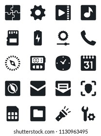 Set of vector isolated black icon - call vector, settings, clock, stopwatch, mail, sd, sim, folder, calendar, torch, brightness, compass, face id, music, video, charge, application, root setup