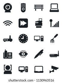 Set of vector isolated black icon - pen vector, garden fork, bench, clock, radio phone, fast forward, wireless, face id, eye, cellular signal, notebook pc, copier, remote control, router, web camera