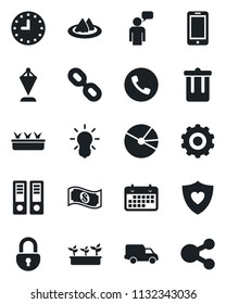 Set of vector isolated black icon - phone vector, trash bin, mobile, speaking man, gear, pennant, office binder, seedling, heart shield, car delivery, clock, term, chain, lock, pie graph, serviette