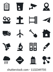 Set of vector isolated black icon - smoking place vector, trash bin, storm cloud, office binder, job, house, dropper, microscope, signpost, pin, car delivery, cargo, film frame, clipboard, city