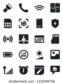 Set of vector isolated black icon - no laptop vector, cell phone, call, gallery, protect, alarm, sd, sim, notes, download, wireless, torch, brightness, eye id, cellular signal, battery, application