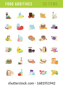 Set of vector isolated illustrations of food and drink additives, e, flavor enhancers,  sauces, flours, syrups, spices, nature flavorings, artificial dressings, seasonings, and other substances.