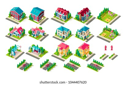 Set vector isolated isometric illustration country house vacation home, penthouse, bus station public transport stop car on road fire hydrant right left view playground children infrastructure element