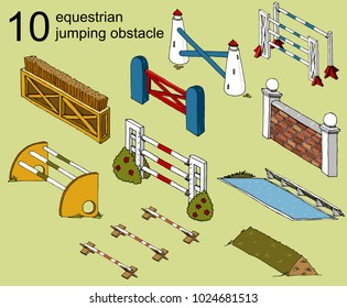 set vector isolated obstacle equestrian sport Jumping isometry