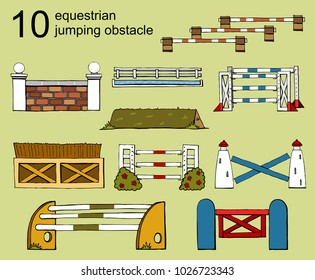 set vector isolated obstacle equestrian sport Jumping flat