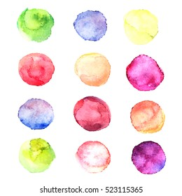 Set with vector isolated watercolor paint circles. Blue, pink, green, yellow, red, purple colors.