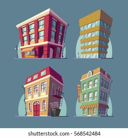 Set of vector isometric icons buildings in Cartoon style