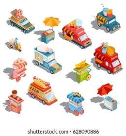 Set of vector isometric illustrations cars fast delivery of food and food trucks, street  carts, icons