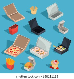 Set of vector isometric illustrations of fast food meal in a cardboard packing and empty open cardboard boxes for pizza, donuts, sushi, french fries, hamburger, capcake