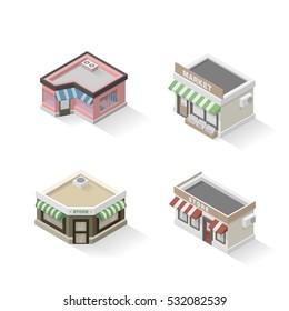 Set of vector isometric stores. Vector illustration of shop, restaurant, market, store.