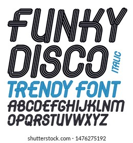 Set of vector italic capital funky alphabet letters isolated can be used for logo creation in entertainment business