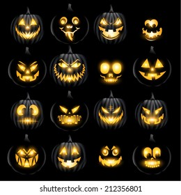 Set of vector jack o lantern pumkins halloween faces