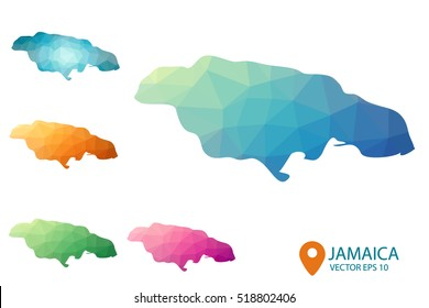 Set of vector Jamaica maps. Bright gradient map of country in low poly style. Multicolored country map in geometric style for your infographics. Vector illustration eps 10.