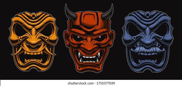 Set of vector Japanese masks of samurais isolated on the dark background.