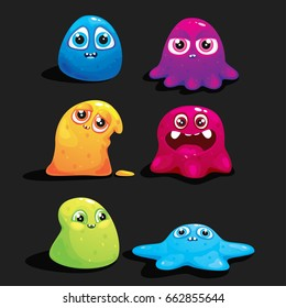 A set of vector jelly monsters for the design of games and applications. Elements of the game are jelly monsters.