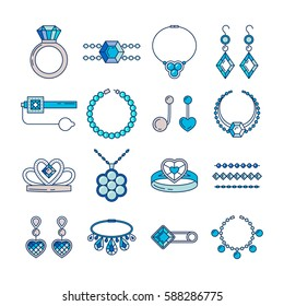Set of vector jewelry line icons. Diamond luxury collection in blue color isolated on white. Ring necklace earrings chain diadem silhouette. Pearl silver crystal sapphire element. Treasure collection.