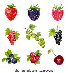 Set of vector juicy ripe berries-1. EPS10