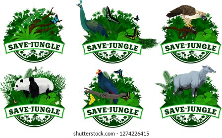 set of Vector Jungle Emblems with Ross's turaco,  giant panda bear, male Green peafowl, philippine Eagle, Fiji banded iguana, nilgai antelope and butterflies