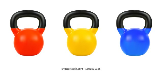 Set vector kettlebell, 3d realistic isolated on white background, EPS 10