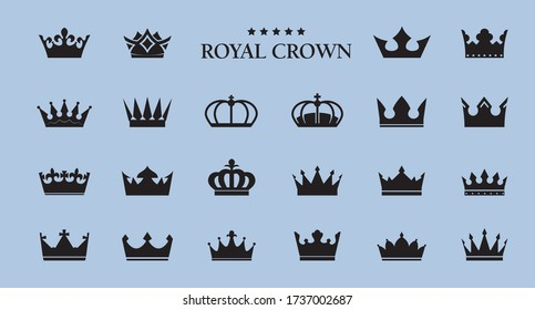 Set of vector king crowns icon on blue background. Vector Illustration. Emblem, icon and Royal symbols.