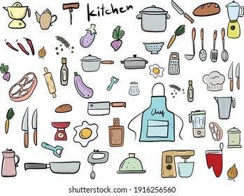 Set of vector kitchen equipments on shelf isolated on white background. kitchen tools objects big collection.