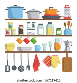 Set of vector kitchen equipments on shelf isolated on white background. kitchen tools objects big collection. bright flat design cartoon style. household illustration.