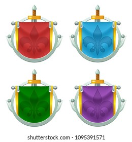 Set of vector knight flag with symbol suspended on the silver pole and sword. Perfect for games or other design works