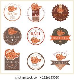 Set of vector label with bael tea.
