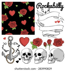 Set of vector label and elements: hearts, roses, skull, ribbons, anchor and seamless pattern. Rockabilly style.