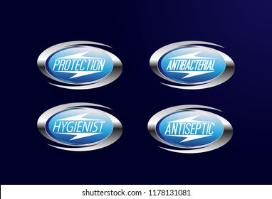 Set Vector label or logo Anti bacterial, protection, hygienist or antiseptic icon symbol, for healthy product like as soap, toothpaste and mouthwash. It can use for logo or background
