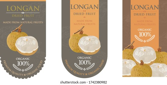 Set of vector label with longan dried.