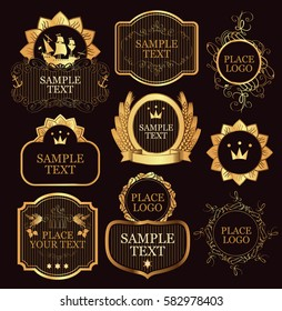 set of vector label templates in black and gold colors