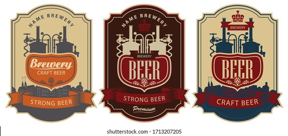 Set of vector labels for beer and Brewery in figured frames. Beer labels in retro style with the production line of the brewery, the inscription and the silhouette of the old town