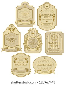set of vector labels beige gold color