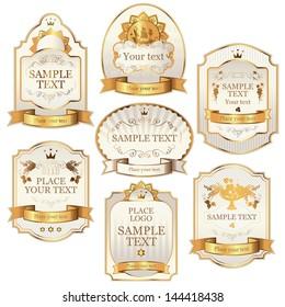 set of vector labels beige gold color