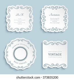 Set of vector labels, cutout paper frames with flourish decoration, vintage ornamental calligraphic vignettes, eps10