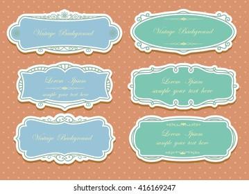 Set of vector labels, cutout paper frames with flourish decoration, vintage ornamental calligraphic vignettes, Wedding label frame design