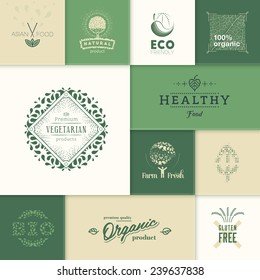 Set of vector labels and design elements for healthy products.