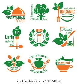 set vector labels and emblems of health and vegetarian food