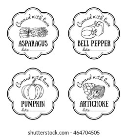 Set of vector labels with hand drawn vegetable. Black and white templates for design can be used as sticker on jar, farmers market, organic food store. Asparagus, bell pepper, pumpkin, artichoke