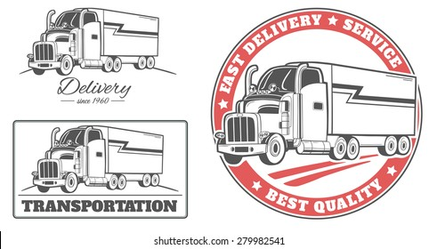 Set of  vector labels and logos for delivery truck.